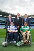 29 October 2014; Pictured in attendance at the launch are, from left, Paschal Donohoe, Minister for Transport, Tourism & Sport, Shane Curran, Connacht & Galway, sponsor Martin Donnelly, Zahid Mahomed, Leinster & Dublin and Paraic Duffy, Ard-Stiúrthóir Cumann Luthchleas Gael. M. Donnelly GAA Interprovincial Wheelchair Hurling Launch, Croke Park, Dublin. Picture credit: Ramsey Cardy / SPORTSFILE