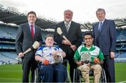 29 October 2014; Pictured in attendance at the launch are, from left,  Paschal Donohoe, Minister for Transport, Tourism & Sport, Shane Curran, Connacht & Galway, sponsor Martin Donnelly, Zahid Mahomed, Leinster & Dublin, and Paraic Duffy, Ard-Stiúrthóir Cumann Luthchleas Gael. M. Donnelly GAA Interprovincial Wheelchair Hurling Launch, Croke Park, Dublin. Picture credit: Ramsey Cardy / SPORTSFILE