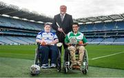 29 October 2014; Pictured in attendance at the launch are, Shane Curran, Connacht & Galway, left, and Zahid Mahomed, Leinster & Dublin, with sponsor Martin Donnelly. M. Donnelly GAA Interprovincial Wheelchair Hurling Launch, Croke Park, Dublin. Picture credit: Ramsey Cardy / SPORTSFILE