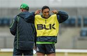 29 October 2014; Connacht's Bundee Aki during squad training ahead of their Guinness Pro12, Round 7, match against Ospreys on Friday. Connacht Rugby Squad Training, Sportsground, Galway. Picture credit: Diarmuid Greene / SPORTSFILE