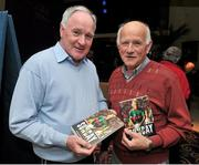 29 October 2014; Martin Connor and John Lally, Tuam, Co. Mayo, during the launch of the book 'One Sunday: A Day in the Life of the Mayo Football Team' by Conor Mortimer with Jackie Cahill (published by Hero Books, priced €16.99). McWilliam Hotel, Claremorris, Co. Mayo. Picture credit: Ray Ryan / SPORTSFILE