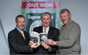 30 October 2014; Eugene McGee with former GAA Presidents Seán Kelly, MEP, and Seán McCague, right, at the launch of his book 'The GAA in My Time' by Eugene McGee. Croke Park, Dublin. Picture credit: Matt Browne / SPORTSFILE