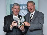 30 October 2014; Eugene McGee with Michéal O Muircheartaigh during the launch of  his book 'The GAA in My Time' by Eugene McGee. Croke Park, Dublin. Picture credit: Matt Browne / SPORTSFILE
