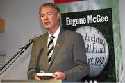 30 October 2014; Michéal O Muircheartaigh at the launch of 'The GAA in My Time' by Eugene McGee. Croke Park, Dublin. Picture credit: Matt Browne / SPORTSFILE