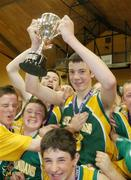 9 May 2007; St. Brendan's College captain Padraig Lucey lifts the cup. Schools Basketball Second Year Finals, A Boys Final, St. Joseph's College, Galway v St. Brendan's College, Killarney, National Basketball Arena, Tallaght, Dublin. Picture credit: Brian Lawless / SPORTSFILE