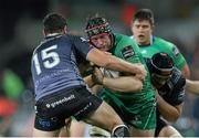 31 October 2014; Eoin McKeon, Connacht, is tackled by Dan Evans, Ospreys. Guinness PRO12, Round 7, Ospreys v Connacht, Liberty Stadium, Swansea, Wales. Picture credit: Steve Pope / SPORTSFILE