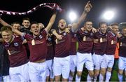 31 October 2014; Galway players celebrate at the end of the game. SSE Airtricity League Promotion/Relegation,   Play-Off, Second Leg, Galway v UCD, Eamonn Deacy Park, Galway. Picture credit: David Maher / SPORTSFILE