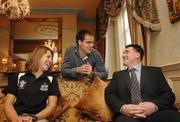 15 May 2007; Phil Moore, right, who was announced as the new Director of Athlete Services at the Irish Institute of Sport photographed with Irish Rowing team member Sinead Jennings and Mens Irish Hockey captain Steven Butler. Buswells Hotel, Dublin. Picture credit: Paul Mohan / SPORTSFILE