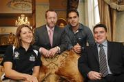 15 May 2007; Phil Moore, right, who was announced as the new Director of Athlete Services at the Irish Institute of Sport photographed with, from left, Irish Rowing team member Sinead Jennings, Sean Kelly, Executive Chairman of the Irish Institute of Sport and Steven Butler, Mens Irish Hockey captain. Buswells Hotel, Dublin. Picture credit: Paul Mohan / SPORTSFILE