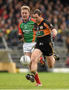 2 November 2014; Mikey Collins, Austin Stacks, in action against Donnchadh Walsh, Mid Kerry. Kerry County Senior Football Championship Final Replay, Austin Stacks v Mid Kerry, Fitzgerald Stadium, Killarney, Co. Kerry. Picture credit: Brendan Moran / SPORTSFILE
