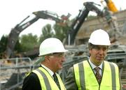 17 May 2007; John Delaney, Chief Executive of the FAI, and David Blood, President of the FAI, during a visit to Lansdowne Road Stadium before work commenced on its demolition. Lansdowne Road Stadium, Dublin. Picture credit: Pat Murphy / SPORTSFILE