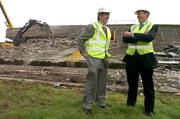 17 May 2007; IRFU Chief Executive Philip Browne shares a joke with John Delaney, left, Chief Executive of the FAI, as demolition work commenced on the Lansdowne Road Stadium. Lansdowne Road Stadium, Dublin. Picture credit: Pat Murphy / SPORTSFILE