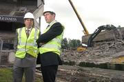 17 May 2007; IRFU Chief Executive Philip Browne in conversation with John Delaney, left, Chief Executive of the FAI, as demolition work commenced on the Lansdowne Road Stadium. Lansdowne Road Stadium, Dublin. Picture credit: Pat Murphy / SPORTSFILE