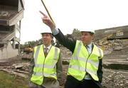 17 May 2007; IRFU Chief Executive Philip Browne with John Delaney, left, Chief Executive of the FAI, as demolition work commenced on the Lansdowne Road Stadium. Lansdowne Road Stadium, Dublin. Picture credit: Pat Murphy / SPORTSFILE