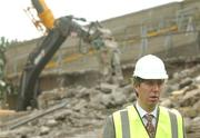 17 May 2007; John Delaney, left, Chief Executive of the FAI, as demolition work commenced on the Lansdowne Road Stadium. Lansdowne Road Stadium, Dublin. Picture credit: Pat Murphy / SPORTSFILE