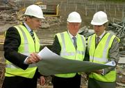 17 May 2007; Mr John O'Donoghue, TD, Minister for Arts, Sport and Tourism, centre, IRFU Chief Executive Philip Browne, left, and John Delaney, Chief Executive of the FAI, look at the building plans during a visit to the Lansdowne Road Stadium before work commenced on its demolition. Lansdowne Road Stadium, Dublin. Picture credit: Pat Murphy / SPORTSFILE
