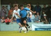 17 May 2007; Jimmy Keohane, Belvedere, is tackled by Michael O'Connor, left, and Conor Clifford, Crumlin United. National Irish Bank SFAI Under-15 Evans Cup Final, Belvedere v Crumlin Utd, Home Farm FC, Whitehall, Dublin. National Irish Bank is the title sponsor of the National Irish Bank SFAI Schoolboy Cups which are organised by the Schoolboy Football Association of Ireland, an affiliate of the FAI, and which are grant-aided by the FAI. The premier schoolboy soccer cups in Ireland, they boast Roy Keane and Damien Duff as former players.The National Irish Bank Cups are played by club teams from under-11 up to and including under-16 age groups, with national Finals in Dublin each June. Picture credit: Brendan Moran / SPORTSFILE