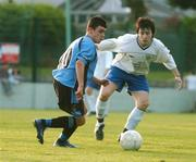 17 May 2007; Gary Burke, Belvedere, in action against Richard Towell, Crumlin United. National Irish Bank SFAI Under-15 Evans Cup Final, Belvedere v Crumlin Utd, Home Farm FC, Whitehall, Dublin. National Irish Bank is the title sponsor of the National Irish Bank SFAI Schoolboy Cups which are organised by the Schoolboy Football Association of Ireland, an affiliate of the FAI, and which are grant-aided by the FAI. The premier schoolboy soccer cups in Ireland, they boast Roy Keane and Damien Duff as former players.The National Irish Bank Cups are played by club teams from under-11 up to and including under-16 age groups, with national Finals in Dublin each June. Picture credit: Brendan Moran / SPORTSFILE