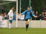 17 May 2007; David O'Connor, Belvedere, celebrates after scoring his side's winning goal in extra time as a dejected Jack Morrison, left, Crumlin United, looks on. National Irish Bank SFAI Under-15 Evans Cup Final, Belvedere v Crumlin Utd, Home Farm FC, Whitehall, Dublin. National Irish Bank is the title sponsor of the National Irish Bank SFAI Schoolboy Cups which are organised by the Schoolboy Football Association of Ireland, an affiliate of the FAI, and which are grant-aided by the FAI. The premier schoolboy soccer cups in Ireland, they boast Roy Keane and Damien Duff as former players.The National Irish Bank Cups are played by club teams from under-11 up to and including under-16 age groups, with national Finals in Dublin each June. Picture credit: Brendan Moran / SPORTSFILE