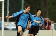 17 May 2007; David O'Connor, Belvedere, celebrates after scoring his side's winning goal in extra time followed by team-mate Jimmy Keohane. National Irish Bank SFAI Under-15 Evans Cup Final, Belvedere v Crumlin Utd, Home Farm FC, Whitehall, Dublin. National Irish Bank is the title sponsor of the National Irish Bank SFAI Schoolboy Cups which are organised by the Schoolboy Football Association of Ireland, an affiliate of the FAI, and which are grant-aided by the FAI. The premier schoolboy soccer cups in Ireland, they boast Roy Keane and Damien Duff as former players.The National Irish Bank Cups are played by club teams from under-11 up to and including under-16 age groups, with national Finals in Dublin each June. Picture credit: Brendan Moran / SPORTSFILE