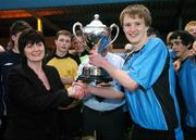 17 May 2007; Belvedere captain Paul Corry is presented with the Evans Cup by Ms Christina Leighburn, Branch Manager, National Irish Bank, Baggot Street. National Irish Bank SFAI Under-15 Evans Cup Final, Belvedere v Crumlin Utd, Home Farm FC, Whitehall, Dublin. National Irish Bank is the title sponsor of the National Irish Bank SFAI Schoolboy Cups which are organised by the Schoolboy Football Association of Ireland, an affiliate of the FAI, and which are grant-aided by the FAI. The premier schoolboy soccer cups in Ireland, they boast Roy Keane and Damien Duff as former players.The National Irish Bank Cups are played by club teams from under-11 up to and including under-16 age groups, with national Finals in Dublin each June. Picture credit: Brendan Moran / SPORTSFILE