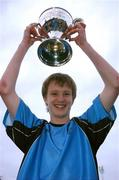 17 May 2007; Belvedere captain Paul Corry lifts the Evans Cup after victory over Crumlin United. National Irish Bank SFAI Under-15 Evans Cup Final, Belvedere v Crumlin Utd, Home Farm FC, Whitehall, Dublin. National Irish Bank is the title sponsor of the National Irish Bank SFAI Schoolboy Cups which are organised by the Schoolboy Football Association of Ireland, an affiliate of the FAI, and which are grant-aided by the FAI. The premier schoolboy soccer cups in Ireland, they boast Roy Keane and Damien Duff as former players.The National Irish Bank Cups are played by club teams from under-11 up to and including under-16 age groups, with national Finals in Dublin each June. Picture credit: Brendan Moran / SPORTSFILE