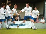 17 May 2007; Andy Boyle, right, Crumlin United, celebrates with his team-mates after scoring his side's second goal. National Irish Bank SFAI Under-15 Evans Cup Final, Belvedere v Crumlin Utd, Home Farm FC, Whitehall, Dublin. National Irish Bank is the title sponsor of the National Irish Bank SFAI Schoolboy Cups which are organised by the Schoolboy Football Association of Ireland, an affiliate of the FAI, and which are grant-aided by the FAI. The premier schoolboy soccer cups in Ireland, they boast Roy Keane and Damien Duff as former players.The National Irish Bank Cups are played by club teams from under-11 up to and including under-16 age groups, with national Finals in Dublin each June. Picture credit: Brendan Moran / SPORTSFILE