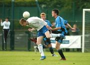 17 May 2007; Paul Murphy, Crumlin United, in action against Neil Harney, Belvedere. National Irish Bank SFAI Under-15 Evans Cup Final, Belvedere v Crumlin Utd, Home Farm FC, Whitehall, Dublin. National Irish Bank is the title sponsor of the National Irish Bank SFAI Schoolboy Cups which are organised by the Schoolboy Football Association of Ireland, an affiliate of the FAI, and which are grant-aided by the FAI. The premier schoolboy soccer cups in Ireland, they boast Roy Keane and Damien Duff as former players.The National Irish Bank Cups are played by club teams from under-11 up to and including under-16 age groups, with national Finals in Dublin each June. Picture credit: Brendan Moran / SPORTSFILE