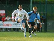 17 May 2007; Paul Murphy, Crumlin United, in action against Garvan Broughall, Belvedere. National Irish Bank SFAI Under-15 Evans Cup Final, Belvedere v Crumlin Utd, Home Farm FC, Whitehall, Dublin. National Irish Bank is the title sponsor of the National Irish Bank SFAI Schoolboy Cups which are organised by the Schoolboy Football Association of Ireland, an affiliate of the FAI, and which are grant-aided by the FAI. The premier schoolboy soccer cups in Ireland, they boast Roy Keane and Damien Duff as former players.The National Irish Bank Cups are played by club teams from under-11 up to and including under-16 age groups, with national Finals in Dublin each June. Picture credit: Brendan Moran / SPORTSFILE