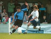 17 May 2007; Jimmy Keohane, Belvedere, in action against Conor Clifford, Crumlin United. National Irish Bank SFAI Under-15 Evans Cup Final, Belvedere v Crumlin Utd, Home Farm FC, Whitehall, Dublin. National Irish Bank is the title sponsor of the National Irish Bank SFAI Schoolboy Cups which are organised by the Schoolboy Football Association of Ireland, an affiliate of the FAI, and which are grant-aided by the FAI. The premier schoolboy soccer cups in Ireland, they boast Roy Keane and Damien Duff as former players.The National Irish Bank Cups are played by club teams from under-11 up to and including under-16 age groups, with national Finals in Dublin each June. Picture credit: Brendan Moran / SPORTSFILE