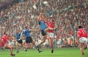 20 August 1995; Brian Stynes, Dublin, contests a high ball with Liam Honohan, Cork. Bank of Ireland All-Ireland Football Semi-Final, Dublin v Cork, Croke Park, Dublin. Picture credit; Ray McManus / SPORTSFILE
