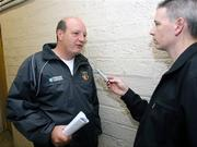 22 May 2007; Antrim Hurling joint manager, Terence McNaughton, being interviewed. Antrim Hurling Media Evening, Casement Park, Belfast, Co. Antrim. Picture credit: Oliver McVeigh / SPORTSFILE