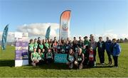 5 November 2014; Fionnuala Britton with young athletes, from athletics clubs, including, Glenmore A.C, St Gerards A.C, Blackrock A.C , Louth , Ardee & District A.C, St Peters A.C, Dunleer A.C and North East runners A.C, in attendance at the launch of the GloHealth National Cross Country Championships. Dundalk Institute of Technology, Co. Louth.  Picture credit: Oliver McVeigh / SPORTSFILE