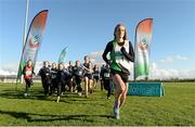 5 November 2014; Fionnuala Britton with young athletes, from athletics clubs, including, Glenmore A.C, St Gerards A.C, Blackrock A.C, Louth, Ardee & District A.C, St Peters A.C, Dunleer A.C and North East runners A.C, in attendance at the launch of the GloHealth National Cross Country Championships. Dundalk Institute of Technology, Co. Louth.  Picture credit: Oliver McVeigh / SPORTSFILE