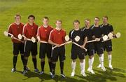 29 May 2007; A host of top GAA hurlers showcase the adidas Predator absolute versus F50 Tunit campaign ahead of this year's hurling championship. Pictured are, from left, Joe Canning, Galway, Sean Og O hAilpin, Cork, Ken McGrath, Waterford and JJ Delaney, KIlkenny, in Predator absolute boots and from right, Ben O'Connor, Cork, Eoin Kelly, Tipperary, Jerry O'Connor, Cork and Tommy Walsh, Kilkenny, in F50 Tunit boots. Croke Park, Dublin. Picture credit: Brendan Moran / SPORTSFILE
