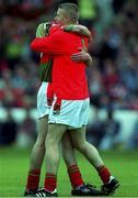 22 August 1999; John O'Hara, Mayo Minor goalkeeper celebrates victory over Cork, All Ireland Minor Semi Final, Cork v Mayo, Croke Park, Dublin. Football.  Picture credit; Ray McManus/SPORTSFILE