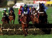8 January 2000; Mantles Prince, with Fran Berry up, green & blue silks, on their way to winning the Ladbroke Hurdle ahead of eventual second Geos, with Barry Geraghty up, right, at Leopardstown Racecourse in Dublin. Photo by Ray McManus/Sportsfile