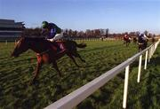 8 January 2000; Mantles Prince, with Fran Berry up, races clear of the field after jumping the last on their way to winning the Ladbroke Hurdle at Leopardstown Racecourse in Dublin. Photo by Ray McManus/Sportsfile