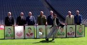10th August 1999. Kerry's Mick O'Connell could not resist the temptation to demonstrates his skills, watched by, from left, Sean Murphy, Kerry, Sean O'Neill, Down, Sean Purcell, Galway, Pat Spillane, Kerry, Kevin heffernan, Dublin, Enda Colleran, Galway  and Martin O'Connell, Meath, at the launch of the An Post-GAA official Gaelic Football Team of the Millennium.  Picture Credit; Ray McManus/SPORTSFILE