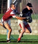 9 January 2000; Seamus Quigley, Louth goalkeeper in action against Paul Conway, Westmeath, Westmeath v Louth, O'Byrne Cup Senior Football, Pairc Mhuire, Ardee, Louth. Picture credit; Ray McManus/SPORTSFILE