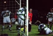 7th January 2000; Paul Doolin, Shelbourne scores their winning goal against St Francis, FAI Soccer Harp Lager Challenge Cup 1st Round, John Hyland Park, Dublin. Soccer. Picture Credit; Damien Eagers/SPORTSFILE