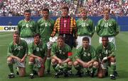 18 June 1994; The Republic of Ireland team, back row, from left, Roy Keane, Paul McGrath, Packie Bonner, Tommy Coyne and Steve Staunton. Front row, from left, John Sheridan, Ray Houghton, Andy Townsend, Denis Irwin and Phil Babb ahead of the FIFA World Cup 1994 Group E match between Republic of Ireland and Italy at Giants Stadium in New Jersey, USA. Photo by David Maher/Sportsfile
