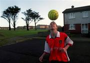 6th January 2000;  Stephen Bradley Arsenal and Rep of Ireland, tests his skills at his home in Jobstown,Tallaght, Dublin. Soccer. Picture Credit ; David Maher/SPORTSFILE