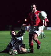 7th January 2000; Tommy Byrne, Shelbourne in action against Eric Saul St Francis, FAI Soccer Harp Lager Challenge Cup 1st Round, John Hyland Park, Dublin. Soccer. Picture Credit; Damien Eagers/SPORTSFILE
