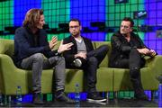 6 November 2014; Eric Wahlforss, Founder & CTO, Soundcloud; Dana Brunetti, Producer, House Of Cards; and Bono, Musician, Elevation Partners, discuss Movies & Music in the 21st Century on the centre stage during Day 3 of the 2014 Web Summit in the RDS, Dublin, Ireland. Picture credit: Stephen McCarthy / SPORTSFILE / Web Summit