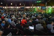 4 November 2014; A general view of the crowd as Richard Arnold, group managing director, Manchester United, speaks on the sport stage during Day 1 of the 2014 Web Summit in the RDS, Dublin, Ireland. Picture credit: Diarmuid Greene / SPORTSFILE / Web Summit
