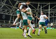 8 November 2014; Ireland's Tommy Bowe is congratulated by team-mates Conor Murray, left, and Richardt Strauss after scoring his side's second try. Guinness Series, Ireland v South Africa, Aviva Stadium, Lansdowne Road, Dublin. Picture credit: Ramsey Cardy / SPORTSFILE