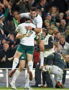 8 November 2014; Ireland's Tommy Bowe is congratulated by team-mate Richardt Strauss and Conor Murray, right, after scoring his side's second try. Guinness Series, Ireland v South Africa, Aviva Stadium, Lansdowne Road, Dublin. Picture credit: Stephen McCarthy / SPORTSFILE