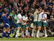 8 November 2014; Tommy Bowe, Ireland, is congratulated by teammates Rhys Ruddock, left, and Conor Murray after scoring their side's second try of the game. Guinness Series, Ireland v South Africa, Aviva Stadium, Lansdowne Road, Dublin. Picture credit: Matt Browne / SPORTSFILE