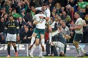 8 November 2014; Ireland's Tommy Bowe is congratulated by team-mates Richardt Strauss and Conor Murray, right, after scoring his side's second try. Guinness Series, Ireland v South Africa, Aviva Stadium, Lansdowne Road, Dublin. Picture credit: Stephen McCarthy / SPORTSFILE